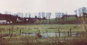 Damalige Wiesen, heute Industriegebiet, die im Winter überschwemmt waren und eine riesige Eisfläche boten.