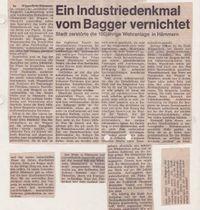 Zeitung: Industriedenkmal vom Bagger vernichtet.